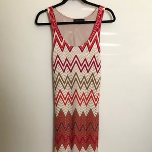 Pink orange and cream chevron crochet maxi dress M